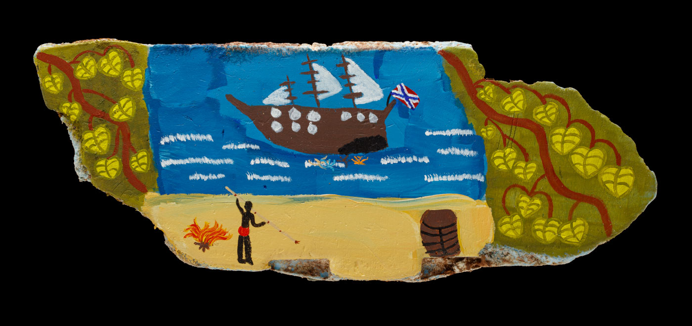 An acrylic painting on driftwood, featuring an indigenous man with a spear near a fire, looking out to a ship at sea. Leaves and branches are also featured on the left and right side of the driftwood.