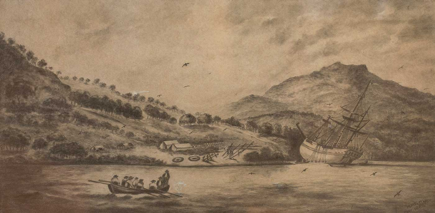 Black and white sketch of a ship resting on its side at the edge of a river. A smaller boat is rowed by eight people in the foreground.