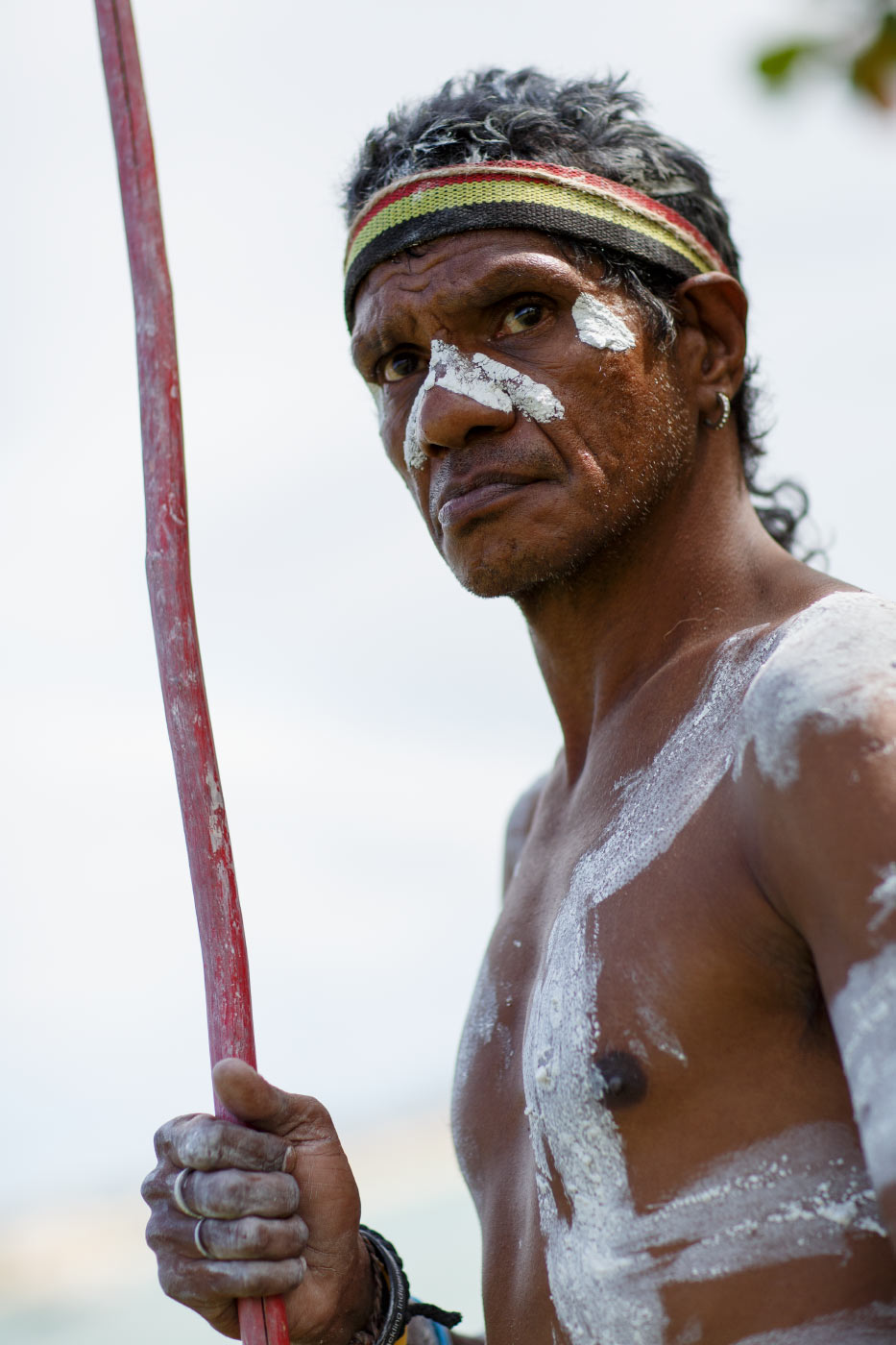 Colour photo of a man holding a spear and wearing body paint as part of an outdoor festival. - click to view larger image