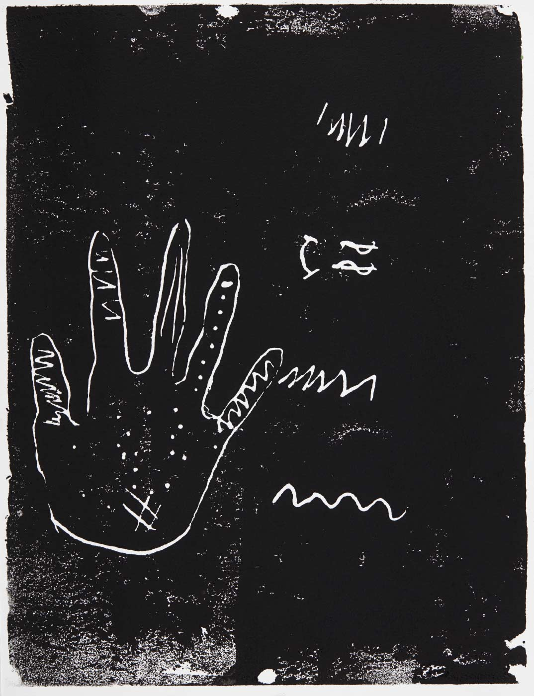 Print, black ink on white oaoer, depicting the outline of a hand. Annotated in pencil 'Xania'. - click to view larger image