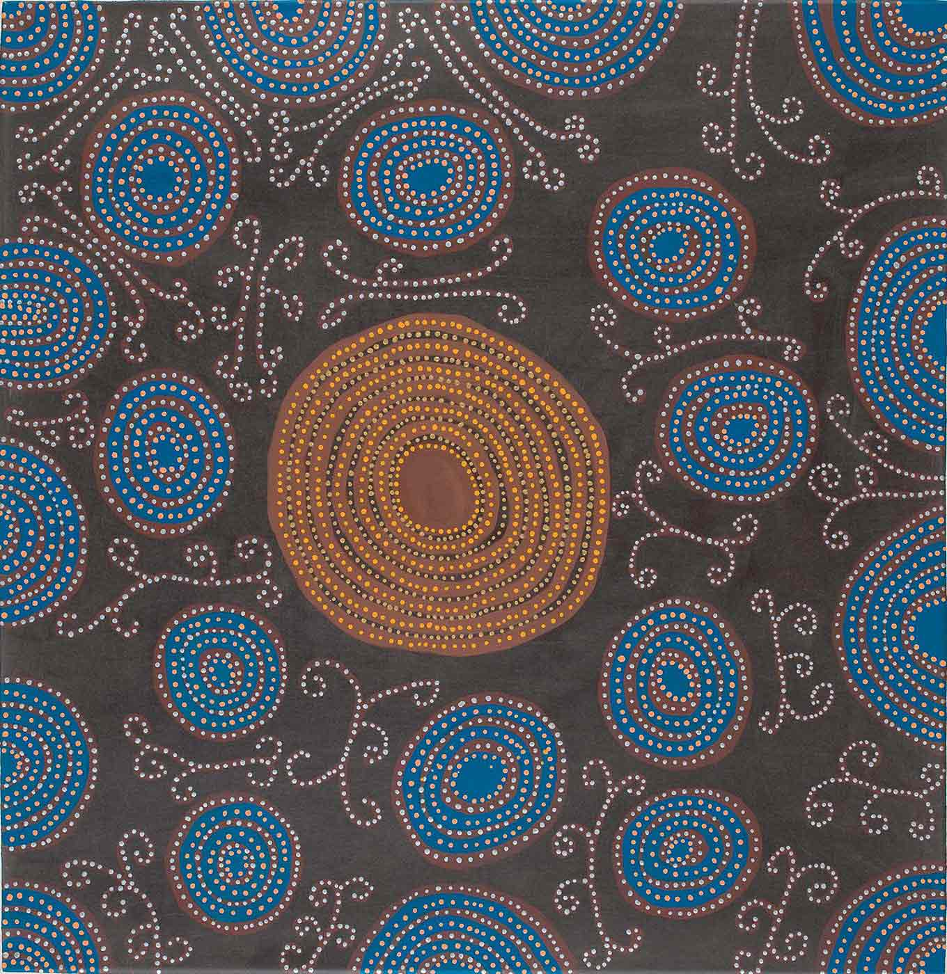 A dot painting on canvas on a black background with a large brown concentric circle motif in the centre dotted with yellow, black and beige, surrounded by blue concentric circles, semicircles and quarter circles dotted in silver, orange and brown. The bottom edge only has one semicircle on it. In between the circles are straight and curved lines with curls on them in brown and dotted with silver. - click to view larger image