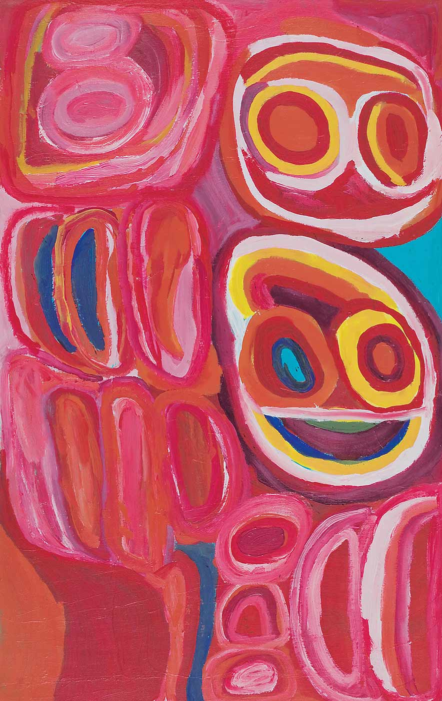 A dark pink toned painting on canvas with a face like motif in green, yellow, orange, purple, pink and blue to the right side. Above this there is a circle with two concentric circles within it side by side, in pink, red, and yellow. The left side and lower section of the painting is filled with pink, red, purple and blue concentric shapes with an orange squarish shape in the bottom left corner.