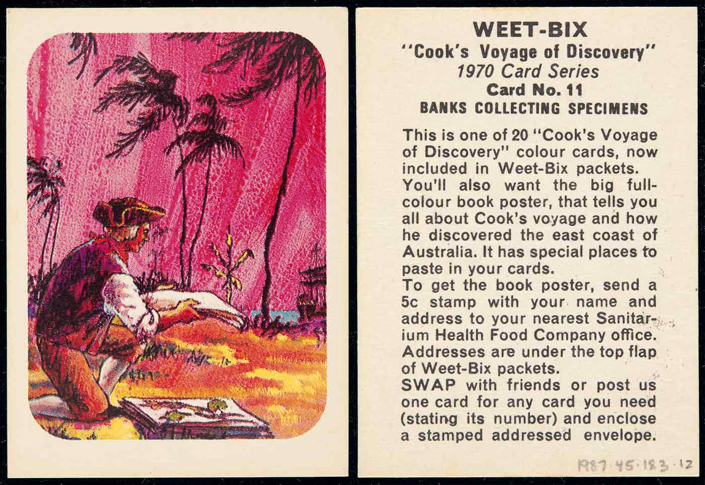 A swap card collected from a Weet-bix cereal packet. The card is number 11 in a series of 20. The card features a colour illustration of a man kneeling by a coastline, arranging a sheaf of papers. The background features a pink sky with palm trees silhouetted against it. Text on the reverse side of the card reads 'WEET-BIX /