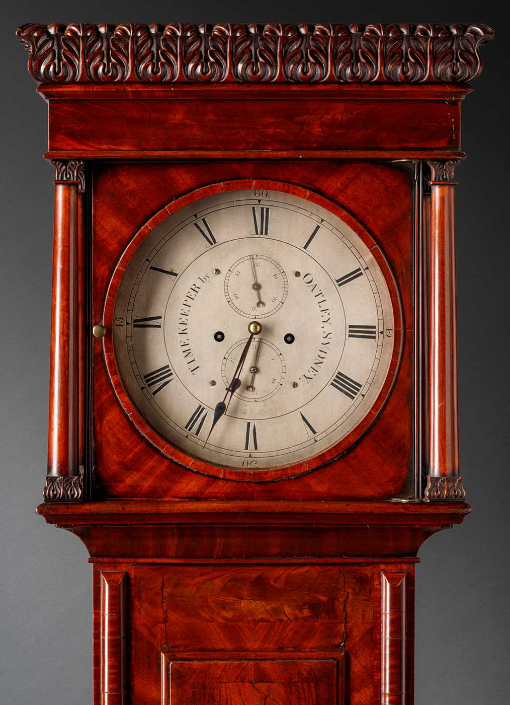 """Detail of a clock face with """"Timekeeper by Oatley Sydney"""" on dial. - click to view larger image"""