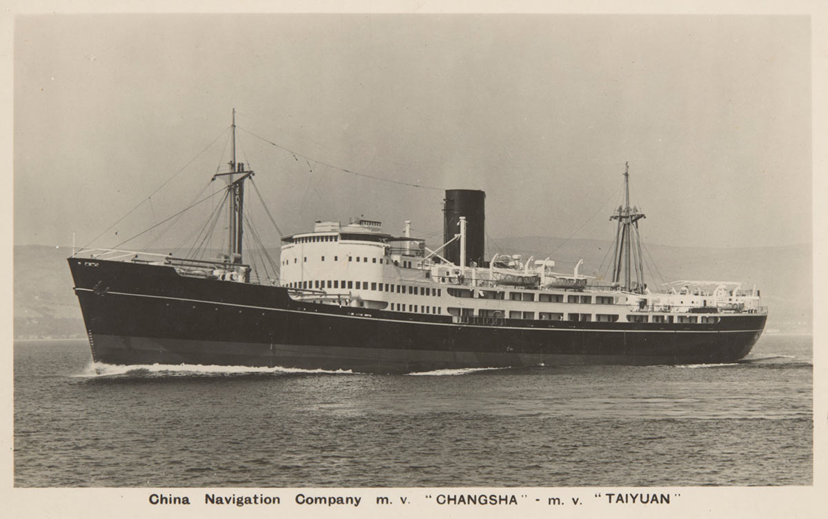 """Alternative text: A landscape-oriented postcard, showing a large ship. The bottom of the postcard reads 'China Navigation Company m. v. """"CHANGSHA"""" - m. v. """"TAIYUAN""""'. - click to view larger image"""
