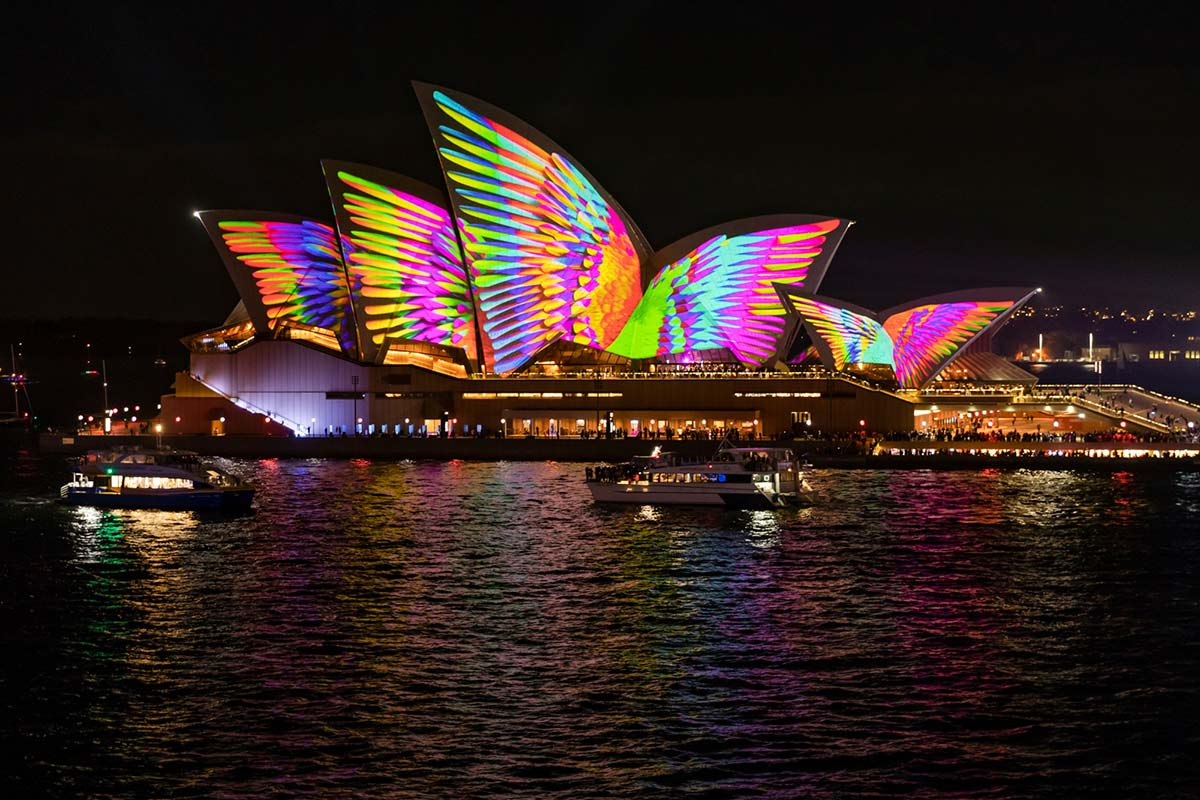 Sydney Opera House at night illuminated by light art projections. - click to view larger image
