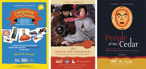 Photos of marketing promotional posters for the (left to right) Captivating and Curious, Exiles and Emigrants and the People of the Cedar exhibitions.