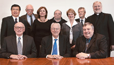 The Council of the National Museum of Australia (back from left) Benjamin Chow, David Barnett, Marian Gibney, Christopher Pearson, Sally Anne Hasluck, Tim Duncan, John Fleming and (front) John Hirst, Tony Staley and Craddock Morton.