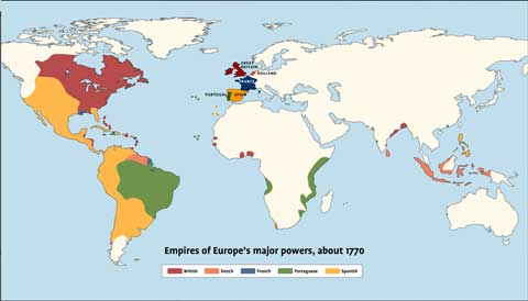 Map of the world that shows the empires of Europe's major powers around 1770