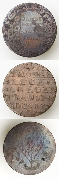 Three coins smoothed down and engraved with words and images.