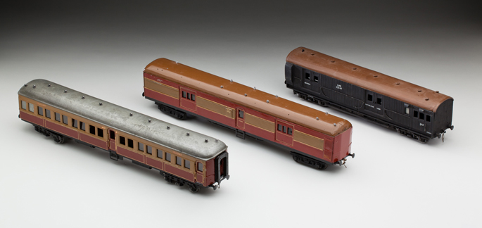 (l-r) New South Wales Railways 'FS' passenger car, guard van and 'LHG' freight brake van, made from aluminium and cast metals by Frederick Steward and associates
