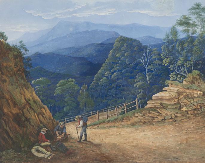 Victoria Pass, Blue Mountains by Eliza Thurston, 1861.