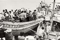 Wooden boat with refugees in Darwin harbour
