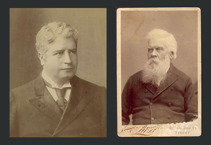 A photo compilation of two studio portraits of an old man with white hair and a bushy white beard and a middle aged man with light curly hair