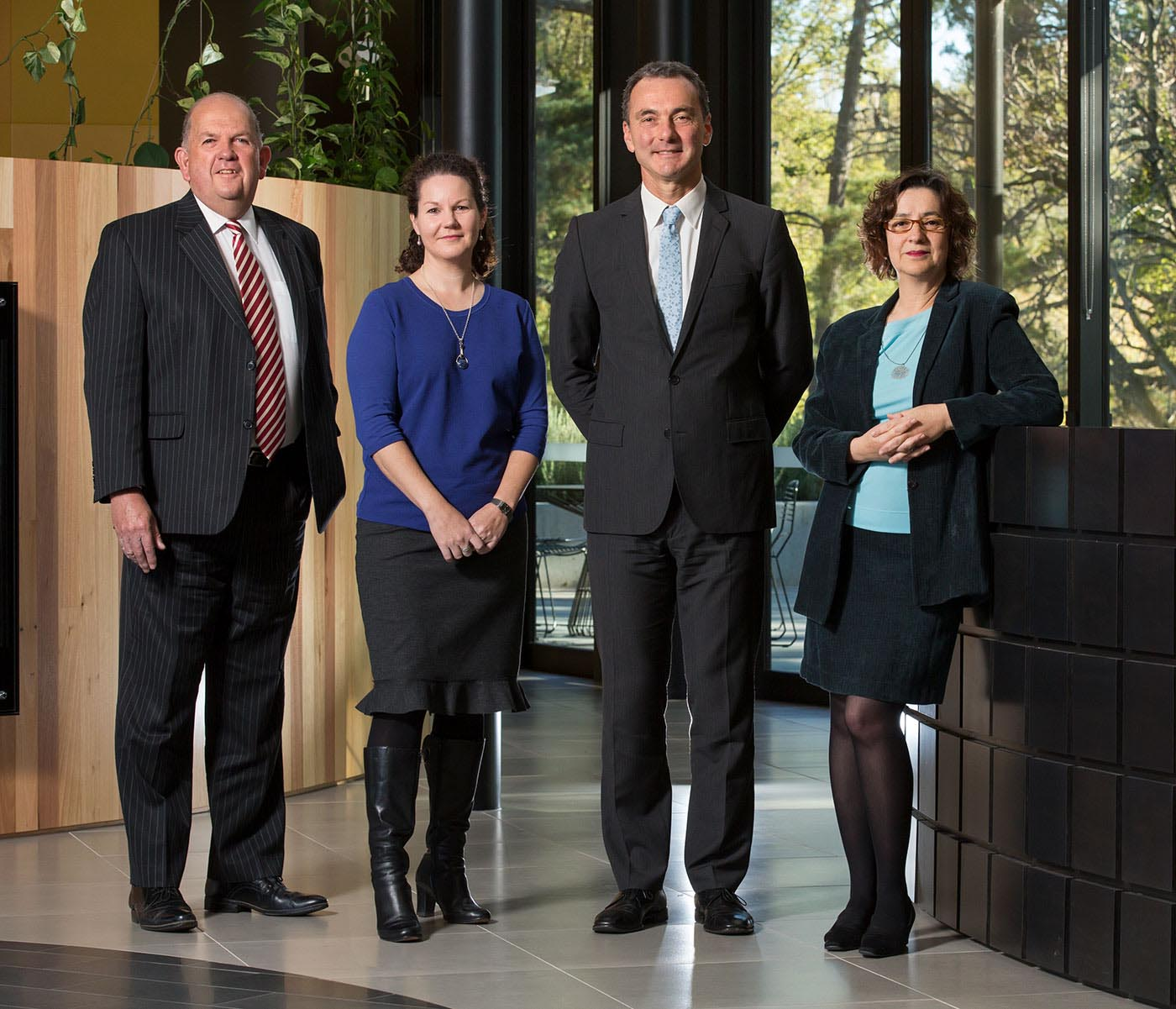 The National Museum of Australia's executive management group (left to right): Graham Smith, Rebecca Coronel, Mathew Trinca and Helen Kon.