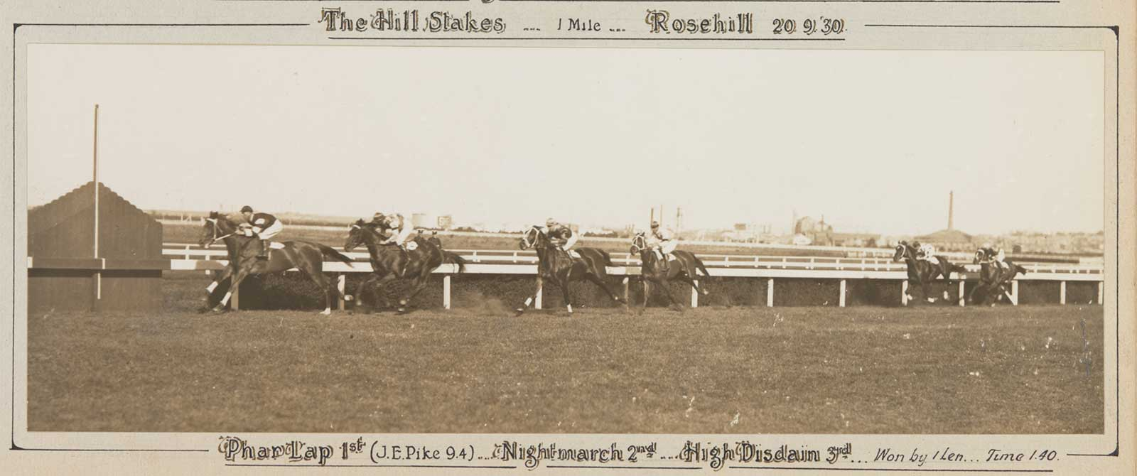 A black and white photo of Phar Lap winning the Hill Stakes, 1930. - click to view larger image