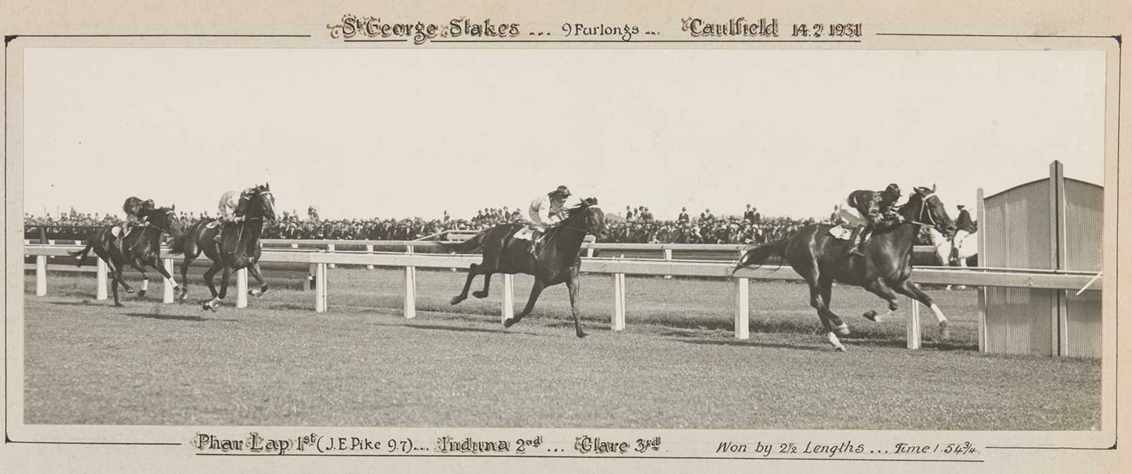 A black and white photo of Phar Lap winning the St George Stakes, 1931. - click to view larger image