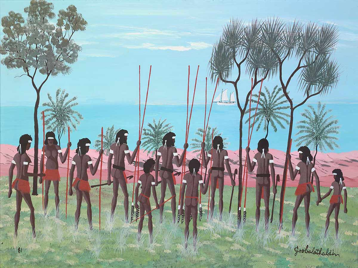 A painting of Aboriginal men holding spears. - click to view larger image