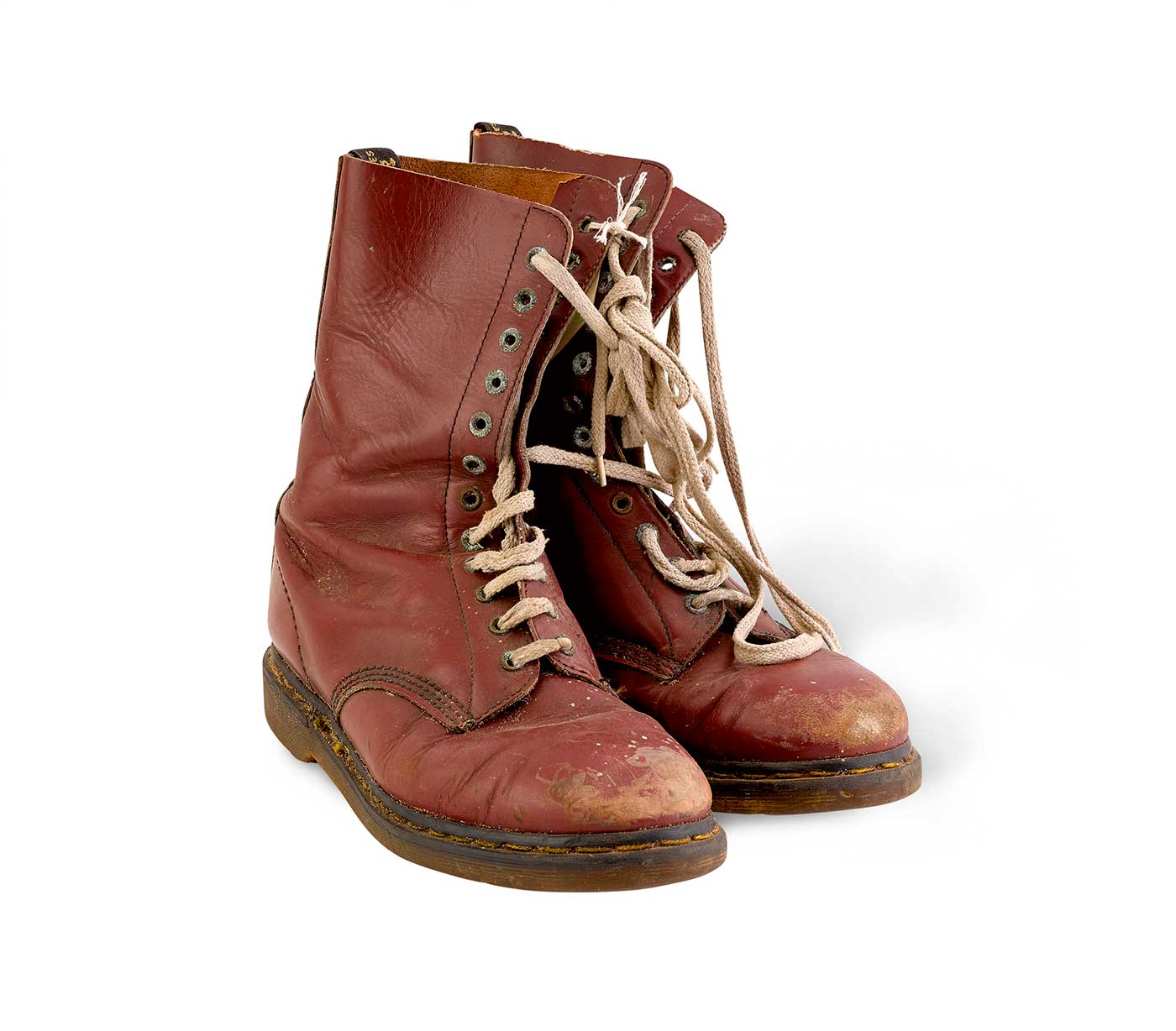 A pair of maroon leather Doc Martens boots - click to view larger image