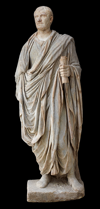 Statue of a man wearing a toga