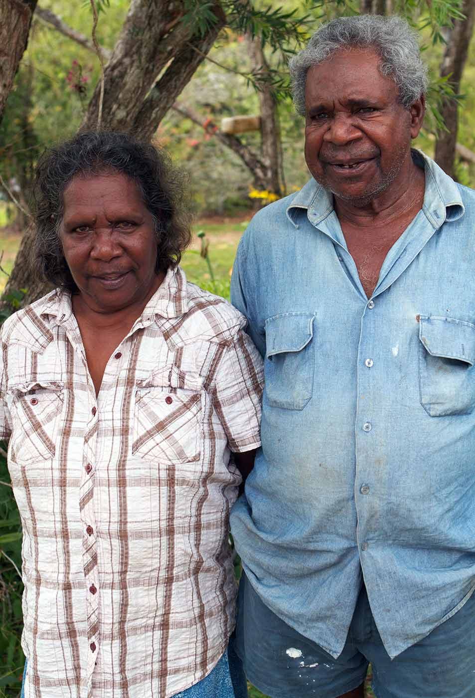 Portrait of a woman and a man of Indigenous Australians background. - click to view larger image