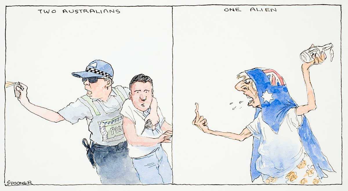 A two-scene cartoon showing: Two Australians – a policeman protecting a man and firing capsicum spray; One alien – a man with an Australian flag draped over his head, sticking up his middle finger and holding an alcoholic drink in the other hand, looking angry and being verbally abusive - click to view larger image