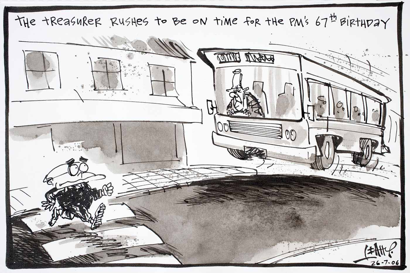Cartoon of Peter Costello driving a bus very fast trying to be on time for the Prime Minister's 67th birthday. Ahead of him is John Howard walking across a pedestrian crossing - click to view larger image