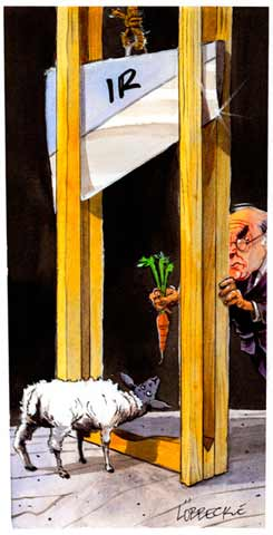 Cartoon of John Howard dangling a carrot in front of a lamb whose head is directly underneath the blade of a guillotine with the initials 'IR' - click to view larger image