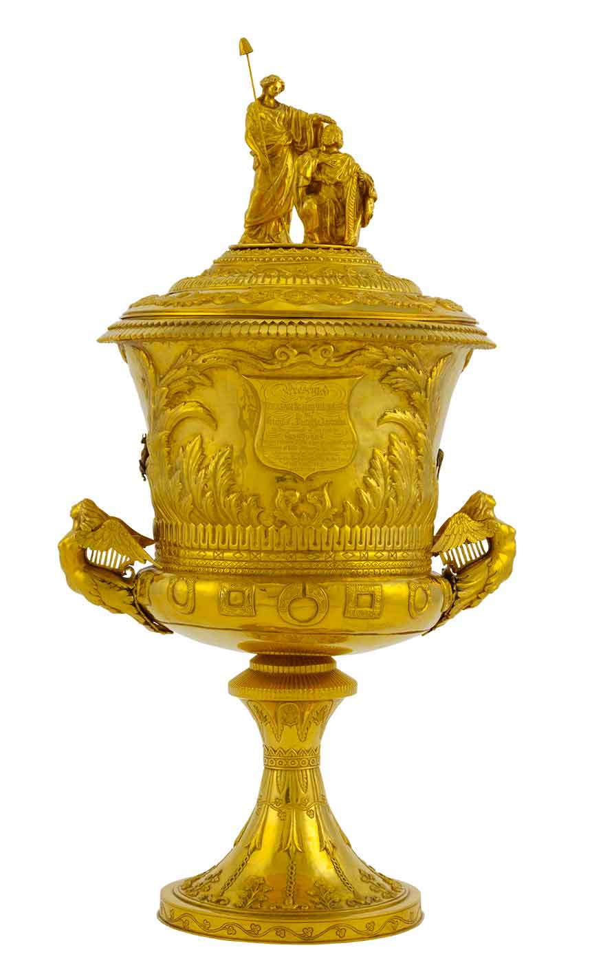 Gold cup ornate design.