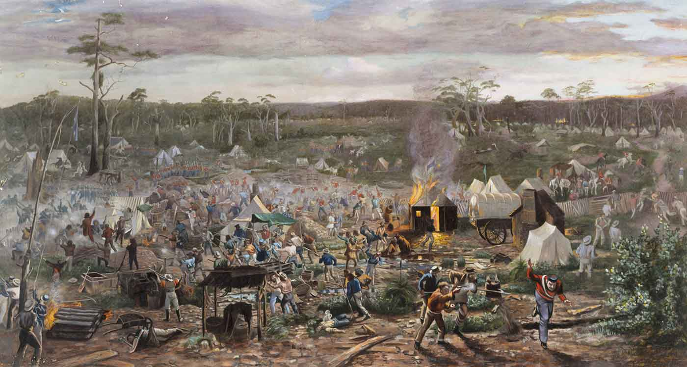 Painting of a battle scene amongst bush land. - click to view larger image