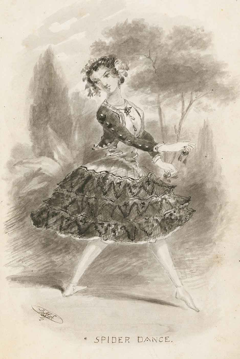 Drawing of a woman dancing with the text underneath: SPIDER DANCE. - click to view larger image