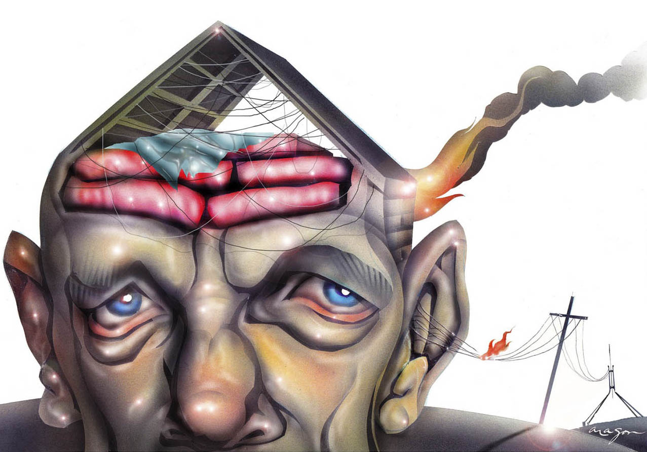 A colour cartoon depicting Peter Garrett with a roof on the top of his head. Inside the roof are pink insulation batts and lots of wiring hanging down. A fire burns at the back of the roof, behind his left ear. A set of wires emerge from his left ear and connect to a power pole in the distance. A flame jumps from one of the lines. In the far distance the wires attach to the flagpole over Australia's Parliament House.  - click to view larger image