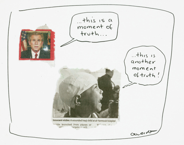 Two newspaper clippings, one of George Bush, with a speech bubble saying '...this is a moment of truth...
