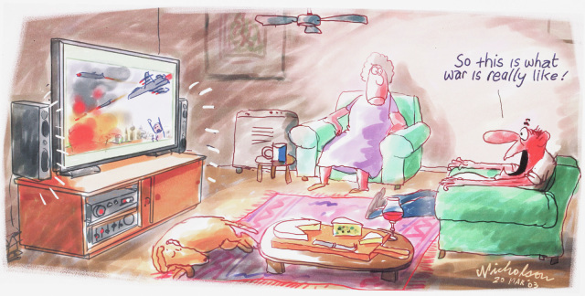 A cartoon of a couple watching television in their living room. On the television is a aircraft over a burning city. The man says 'So this is what was is really like!' - click to view larger image