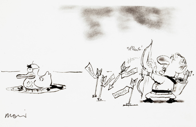 A cartoon depicting a man firing arrows at a duck, and missing repeatedly. The arrows are labelled, 'Abbott', 'Ethanol', 'Iraq'.  - click to view larger image