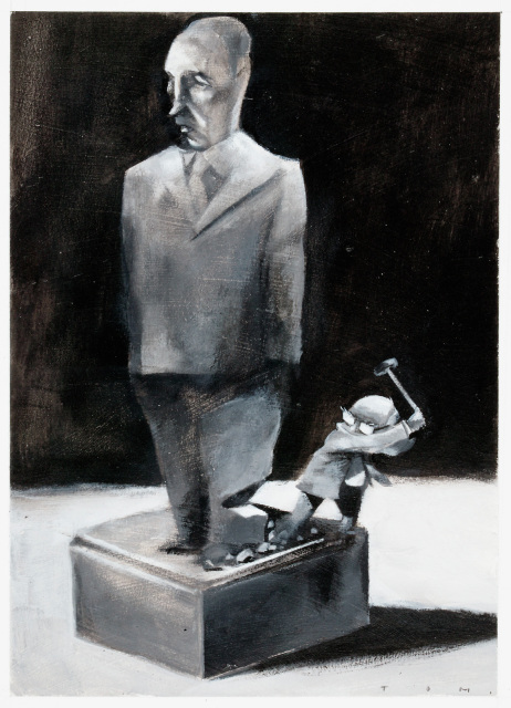 A cartoon of John Howard, chopping down a statue of Paul Keating. - click to view larger image
