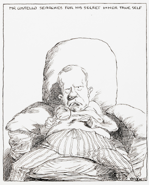 A cartoon of Peter Costello sitting, legs splayed, slouched, in a lounge chair. His is shirtless and is examining his navel with a magnifying glass. Along the top of the frame, the words 'Mr Costello searches for his secret inner self'. - click to view larger image