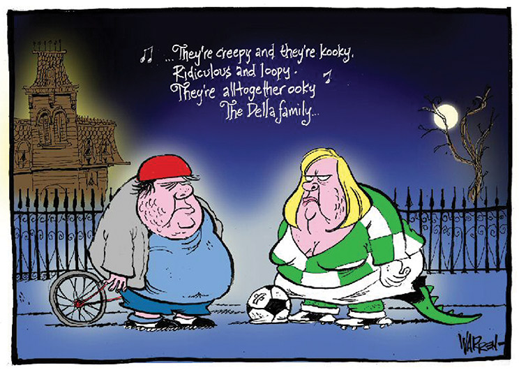 A night time scene with a Victorian-style house in the background and the moon seen through the branches of a leafless tree. In the foreground of the cartoon, standing in front of a spiked metal fence, are two short, fat, hulking people. The woman is blond, dressed in green soccer clothes, and has a lizard tail trailing behind her. Above their heads float the words '... They're creepy and they're kooky. Ridiculous and loopy. They're altogether ooky. The Della family ...' Musical notes float next to the text. - click to view larger image