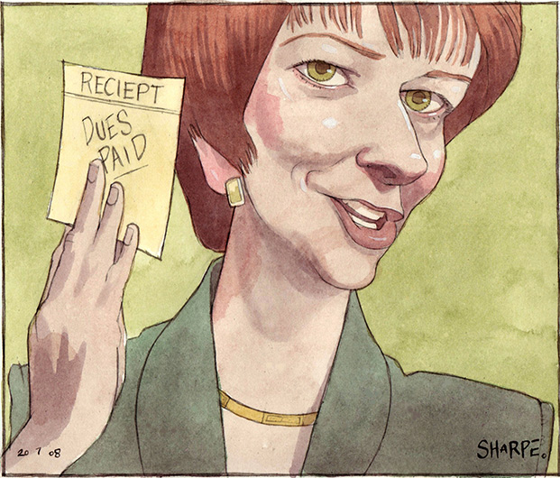 Colour illustration showing Julia Gillard's head and shoulders, her right hand is up and carrying a piece of paper which reads 'Reciept (sic): dues paid'. Gillard looks triumphant. She wears a green suit and gold necklace. - click to view larger image