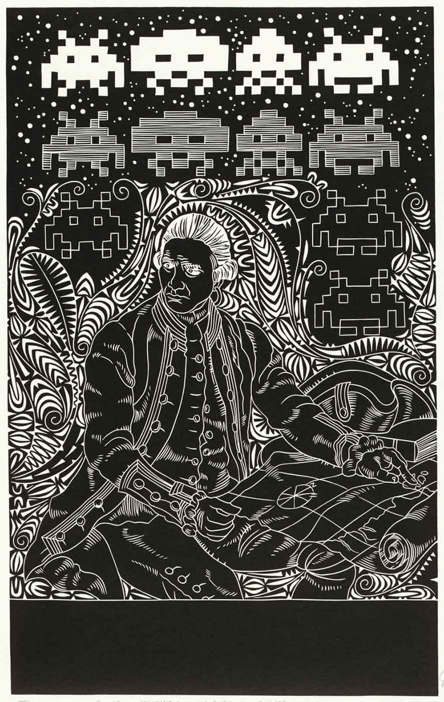 A black and white linocut featuring an image of a man seated and holding a map. The man is surrounded by organic motifs from the Torres Strait. The background comprises rows of Space Invaders, a 1980's popular computer game motif.