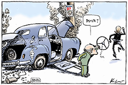 Cartoon showing an FJ Holden style car with a 'Liberals' numberplate, which has crashed into a pole which bears a 'Kevin 07' poster. John Howard, wearing a green and gold tracksuit, stands outside the car holding the steering wheel, saying 'Peter', as Peter Costello runs away. A small creature at the bottom of the cartoon says 'How ungrateful