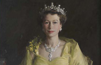 Detail of portait of Queen Elizabeth II wearing a pale yellow dress and tiara.