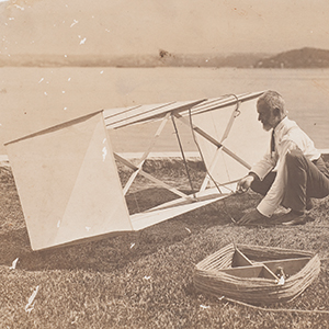 Lawrence Hargrave, working on a box kite