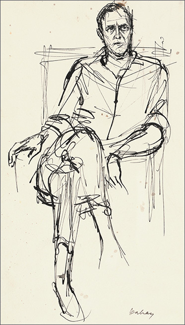 Sketch of man sitting in chair