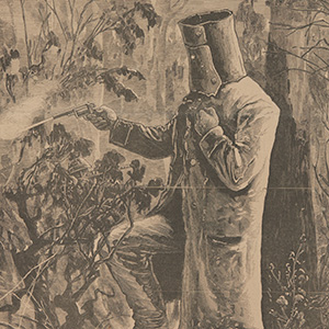 Newspaper with elaborate masthead. There is no text; just a  woodcut image of Ned Kelly firing his revolver