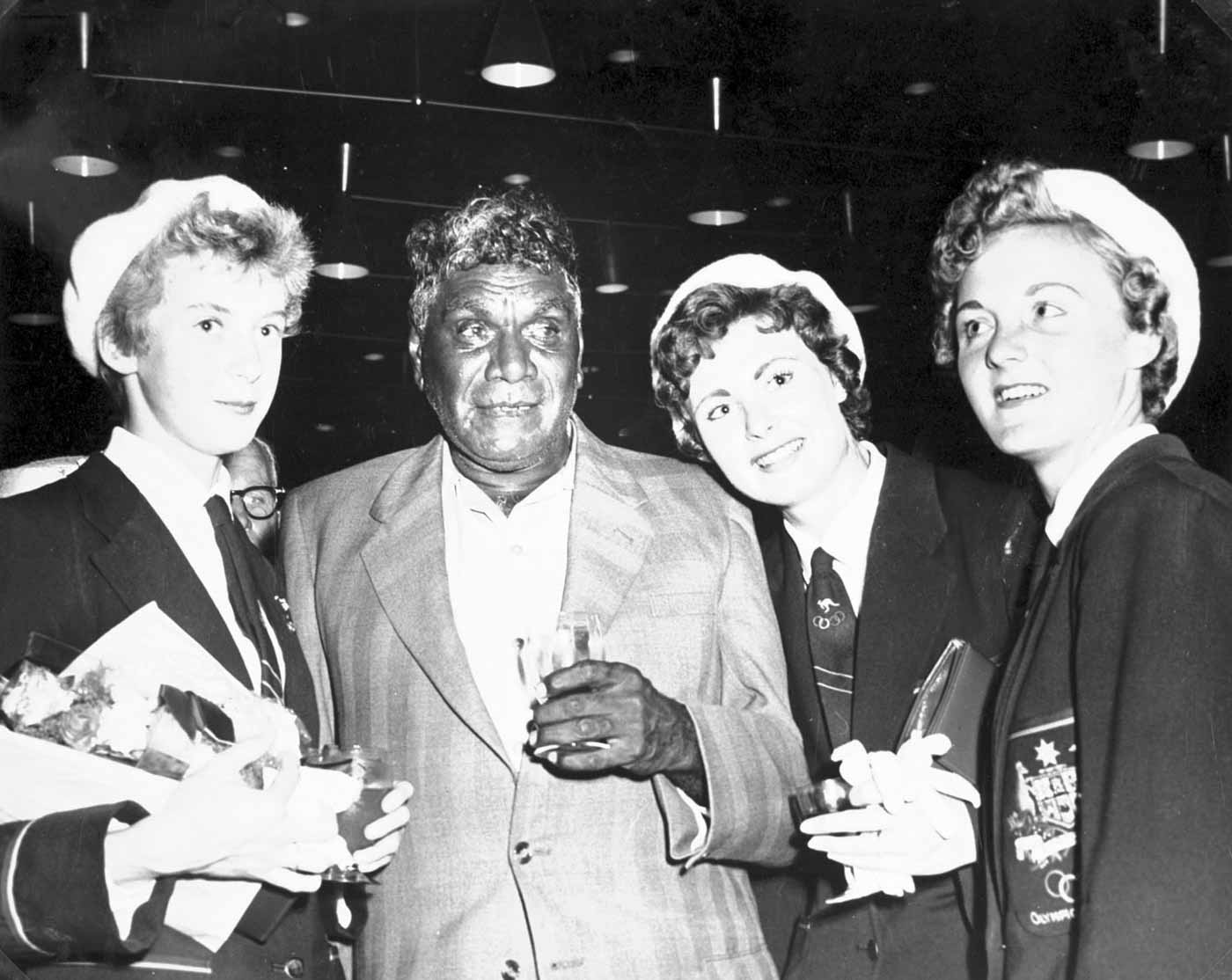 Left to right: Betty Cuthbert, Albert Namatjira, Marlene Mathews and Gloria Cook. - click to view larger image