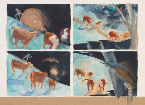 Four watercolour panels showing a human form with a round hay bale, several brown cows in a bush landscape and a bird perched in a tree.
