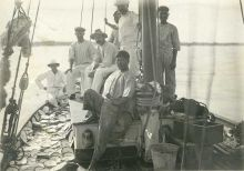 Men aboard a pearling lugger