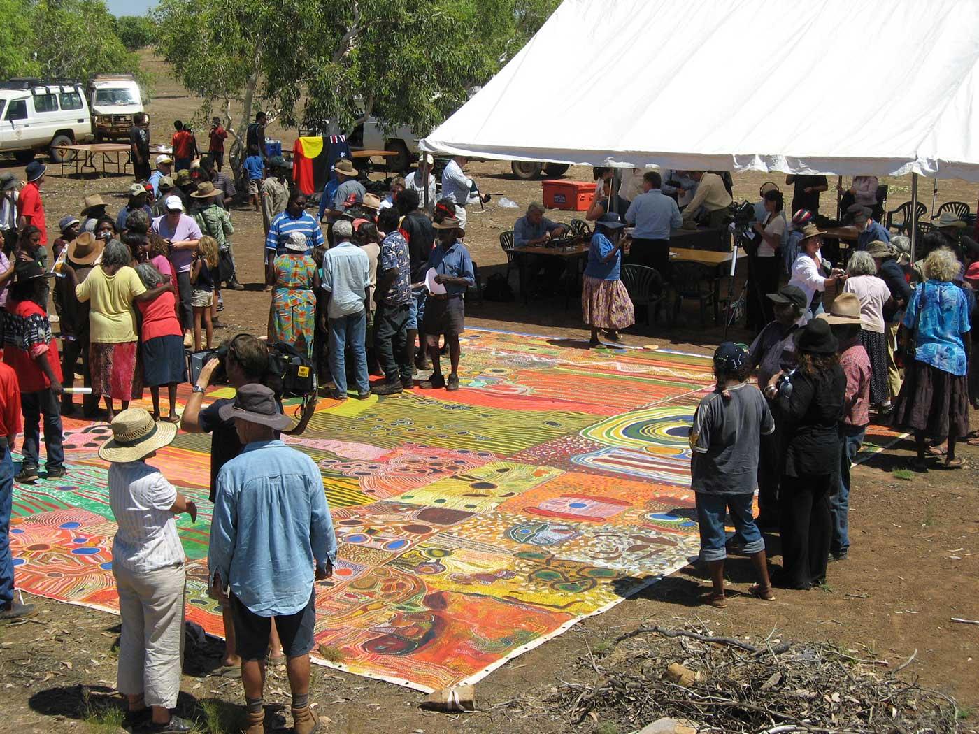 The Ngurrara Canvas at the Ngurrara native title determination proceedings at Pirnini, November 2007. - click to view larger image