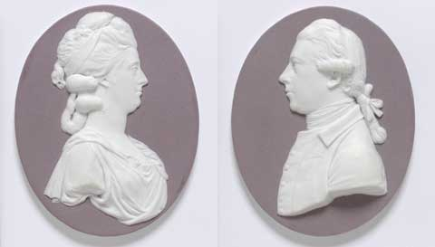 A pair of Wedgwood portraits which show Joseph Banks with his wife Lady Dorothea.